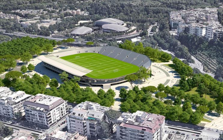 Uno dei rendering del progetto presentato da AS Roma Nuoto per il restauro dello stadio Flaminio