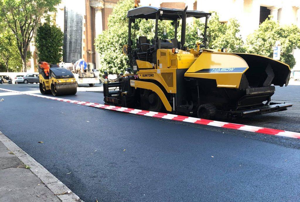 Lavori in corso in piazza Euclide. Foto dalla pagina Facebook Parioli e dintorni