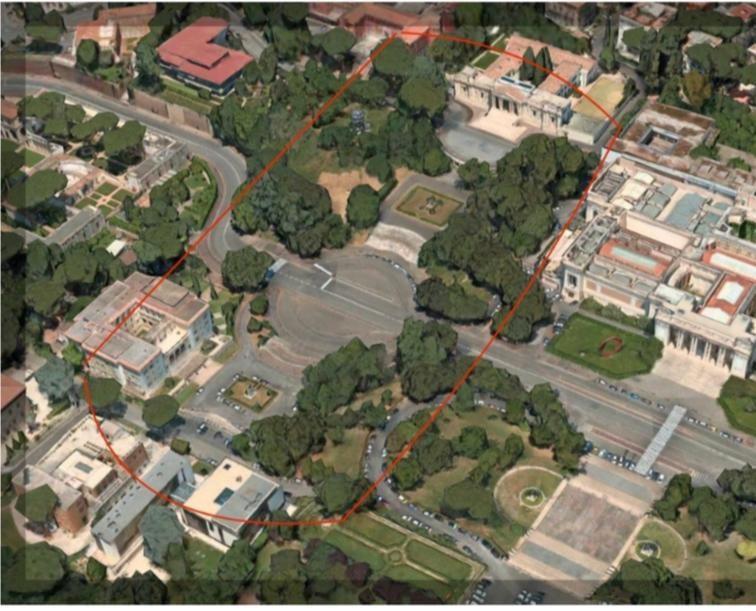 In rosso, l'area interessata al progetto