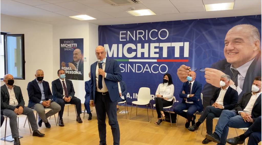 Enrico Michetti con i candidati minisindaci di Roma