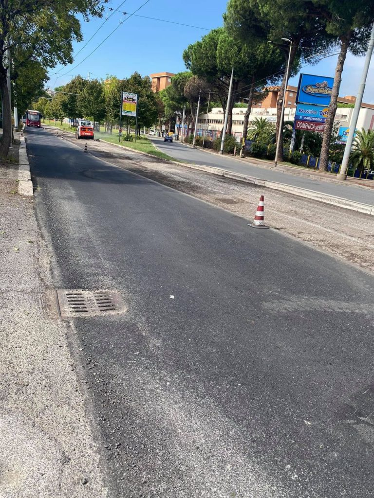 I lavori a Fidene, tra via Titina De Filippo e via Gianna Pederzini