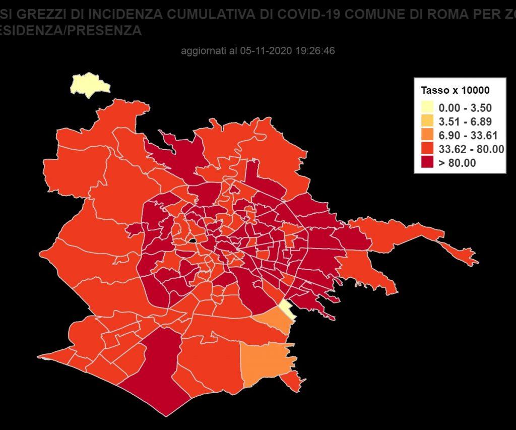 La mappa dei contagi da Covid a Roma (fonte Seresmi)