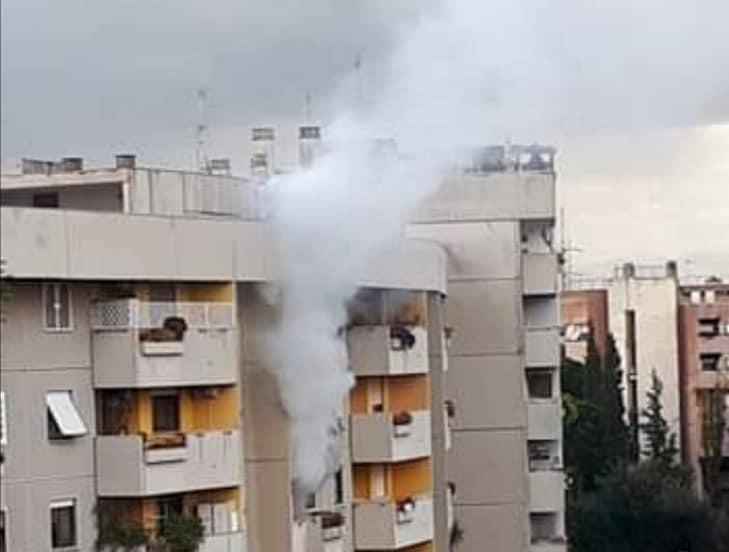 Le fiamme a viale Lina Cavalieri (foto Reporter Montesacro)