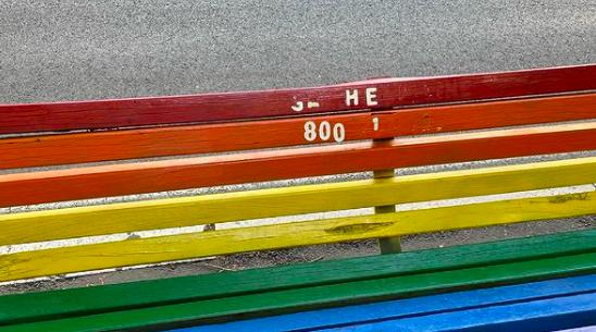 L'atto vandalico sulla panchina arcobaleno