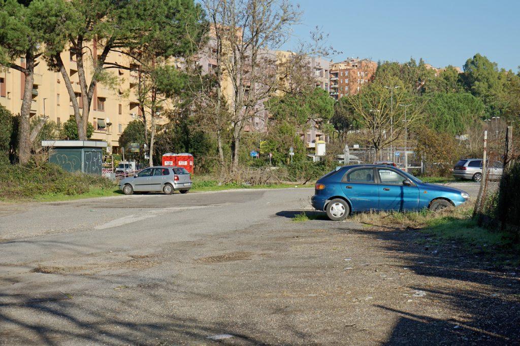 Il parcheggio della stazione di Fidene