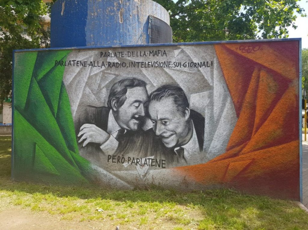 Il murales per Falcone e Borsellino