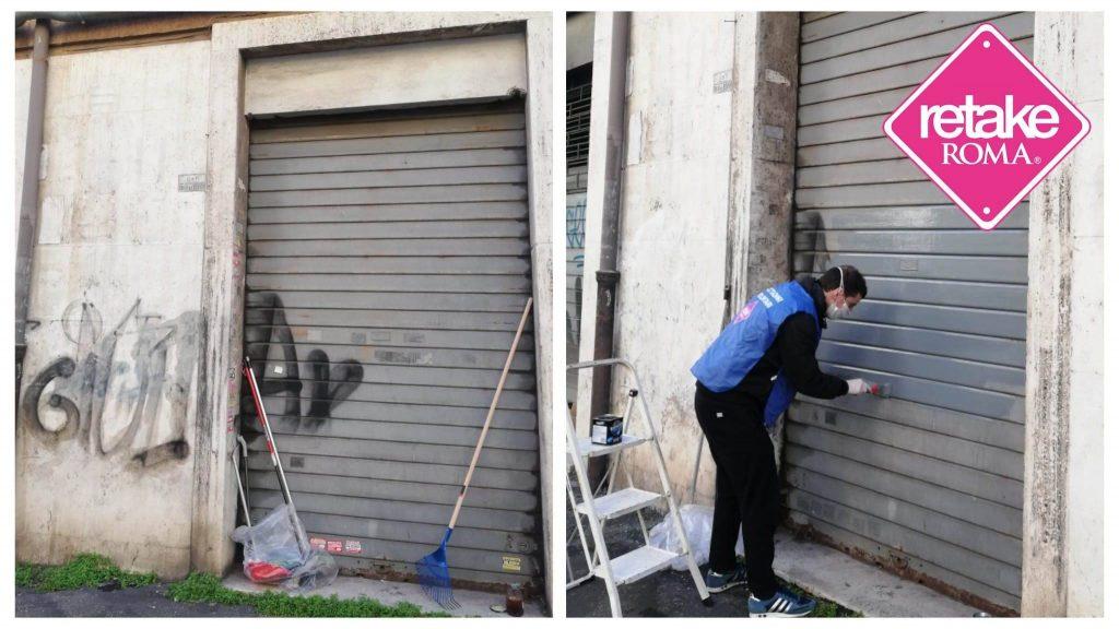 Un volontario di Retake all'opera in via Boni