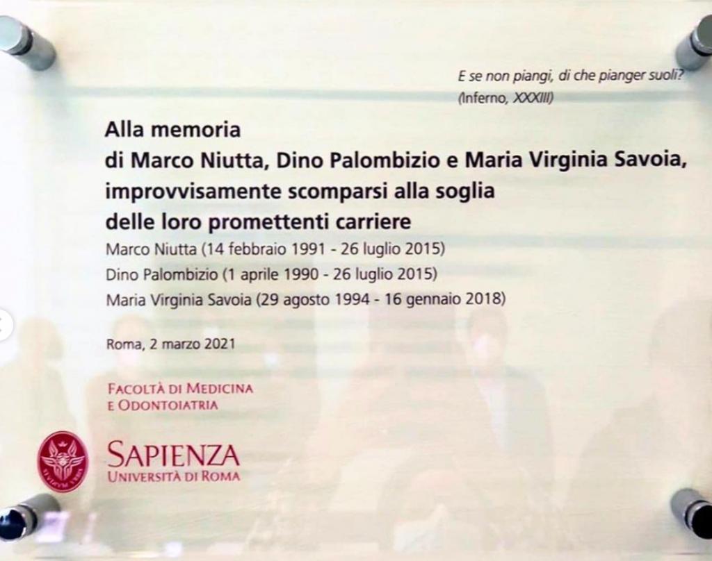 La targa per gli studenti scomparsi alla Sapienza