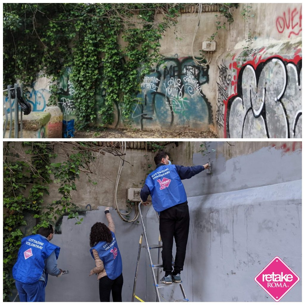Via Pasquali prima e dopo (foto dal gruppo Fb Retake piazza Bologna - Nomentano)