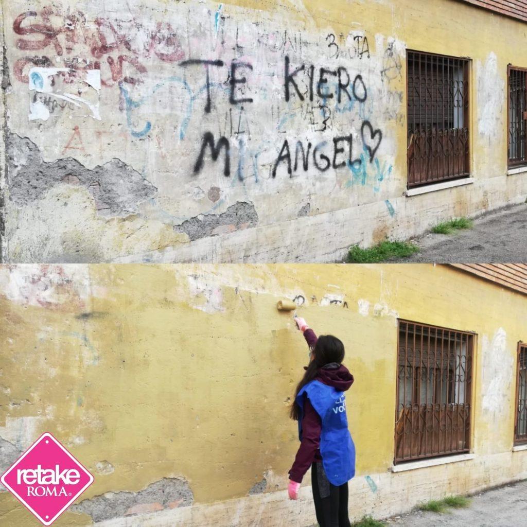 Il prima e dopo l'intervento di Retake. Foto tratta dalla pagina Facebook Retake Roma piazza Bologna