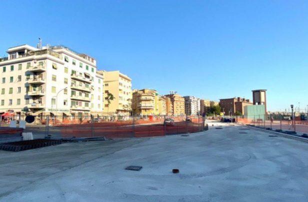 La nuova area pedonale davanti alla stazione Tiburtina. Foto dalla pagina Facebook di Virginia Raggi