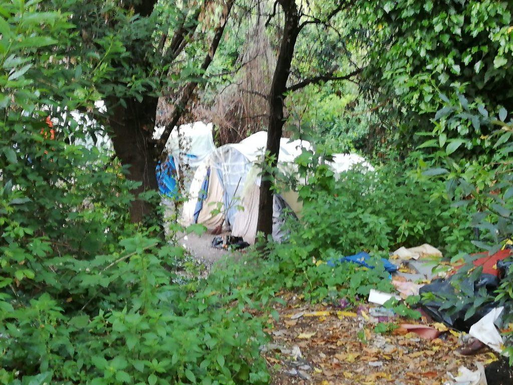 Otto tende, sistemate in modo ordinato su una piazzola immersa nella boscaglia