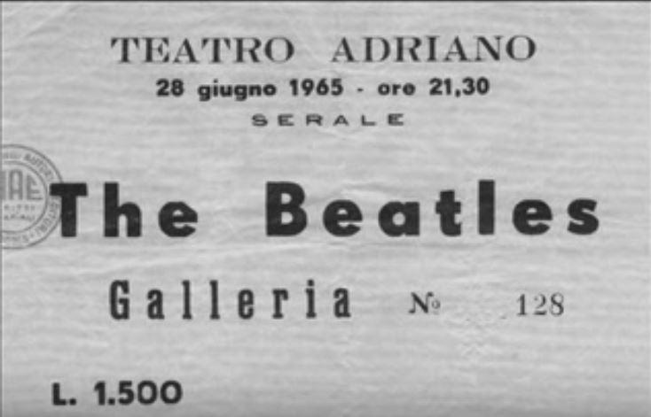 Un biglietto per assistere al concerto dei Beatles al Teatro Adriano