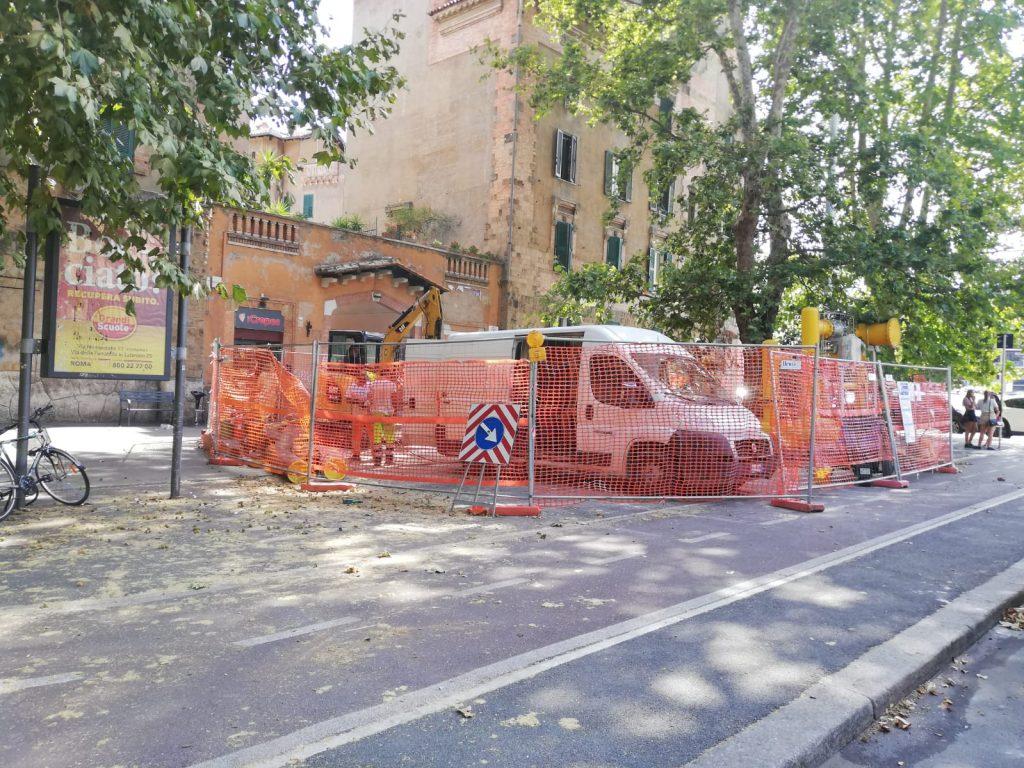 L'area tra piazzale degli Eroi e via Andrea Doria interessata dai lavori di Italgas