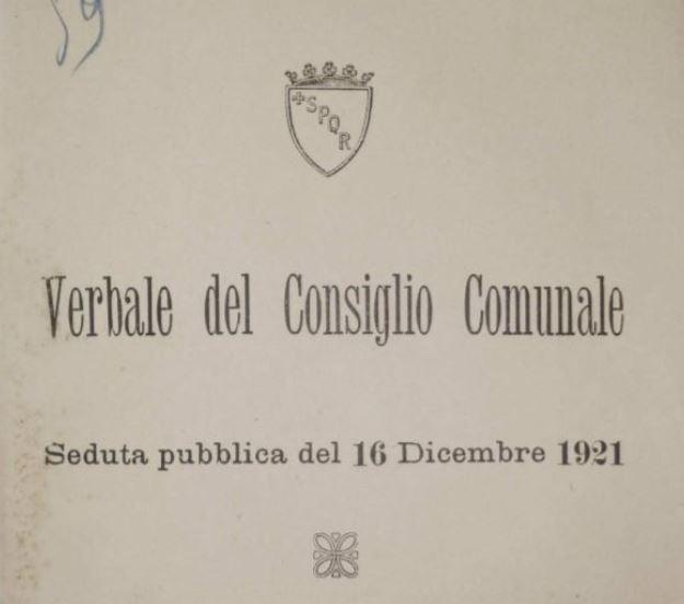 Il verbale del consiglio comunale del 16 dicembre 1921