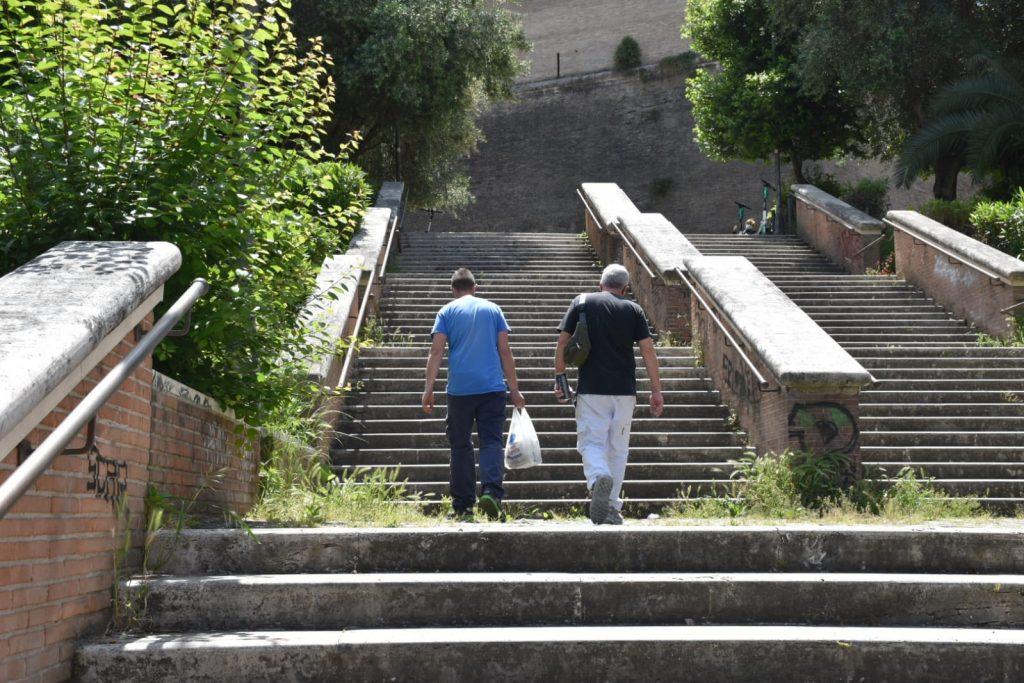 Erbacce sulla scalinata di via Angelo Emo