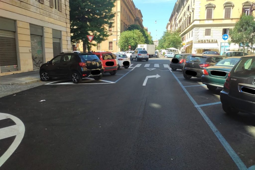 Il nuovo asfalto di via degli Scipioni