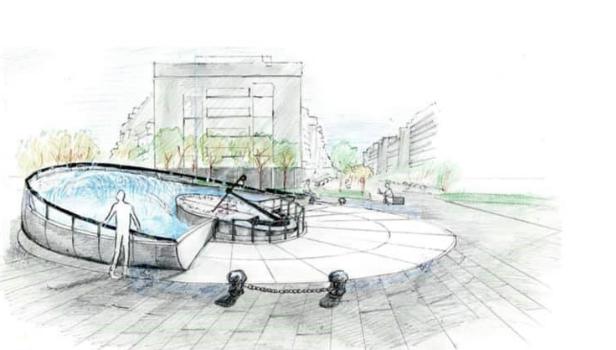 un disegno del monumento al marinaio di piazza Bainsizza
