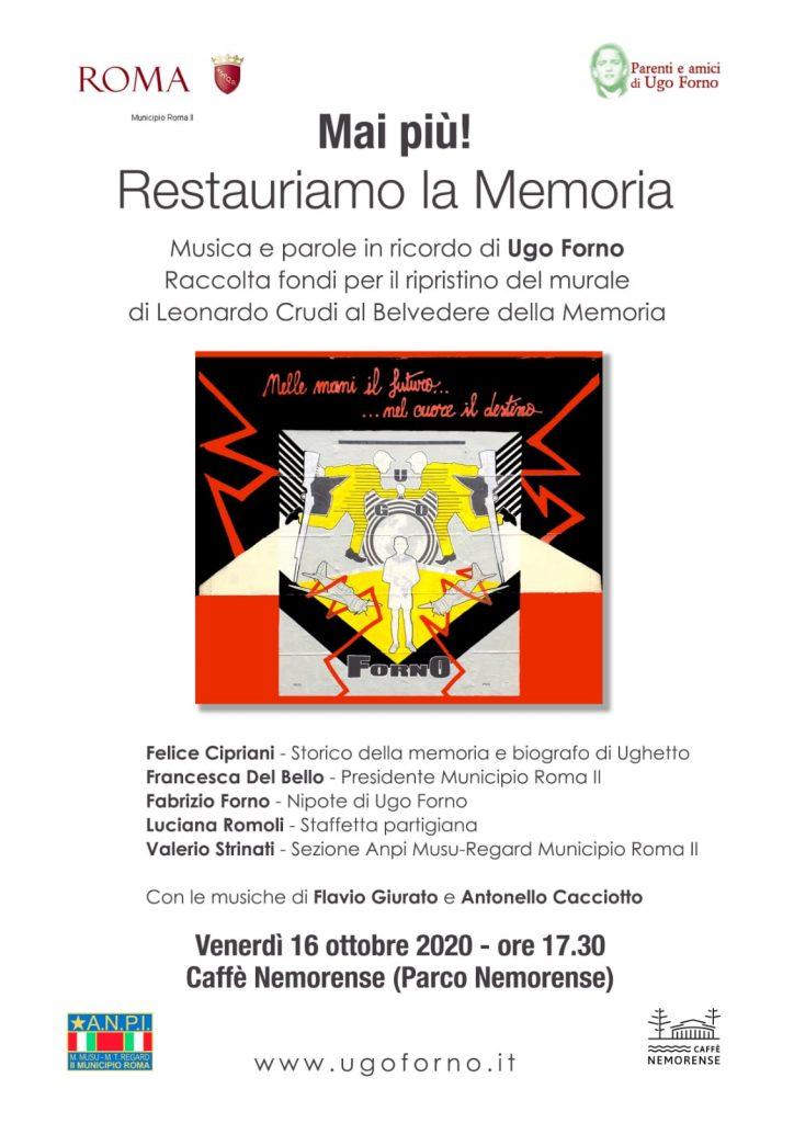 La locandina dell'evento in ricordo di Ugo Forno