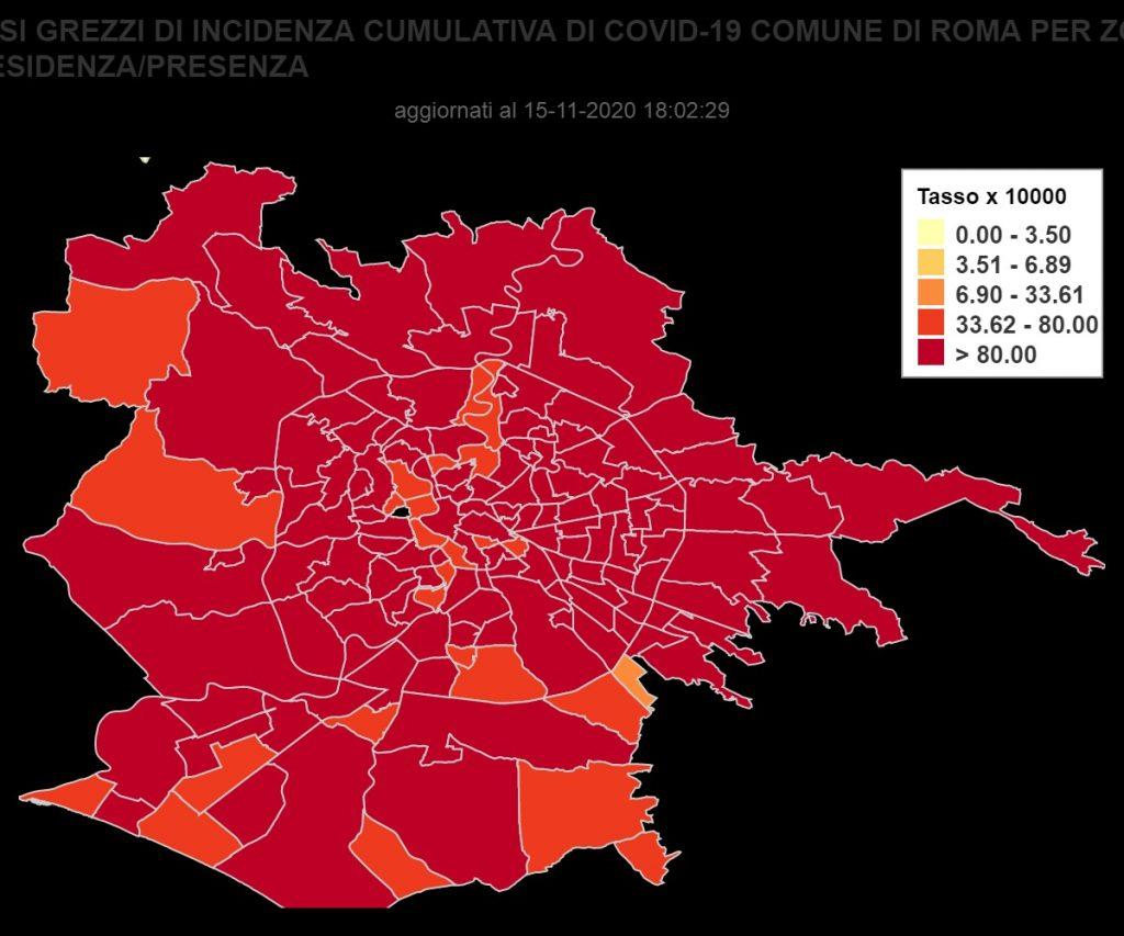 Covid, la mappa dei contagi a Roma