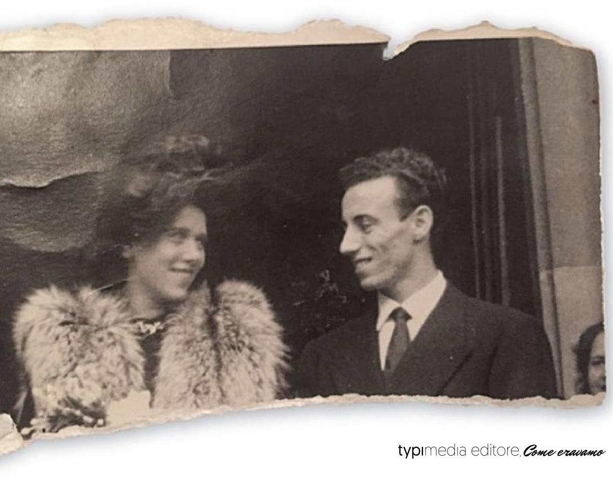 Alberto Mieli in posa con la moglie Ester il giorno del loro matrimonio nel 1948. Si sono conosciuti circa due anni dopo il ritorno di lui da Auschwitz e sono stati insieme 40 anni, fino alla morte di lei