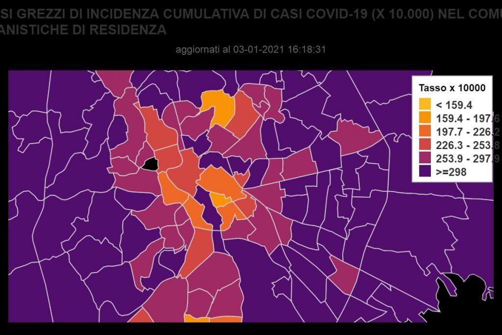 Covid, la mappa dei casi attivi a Roma