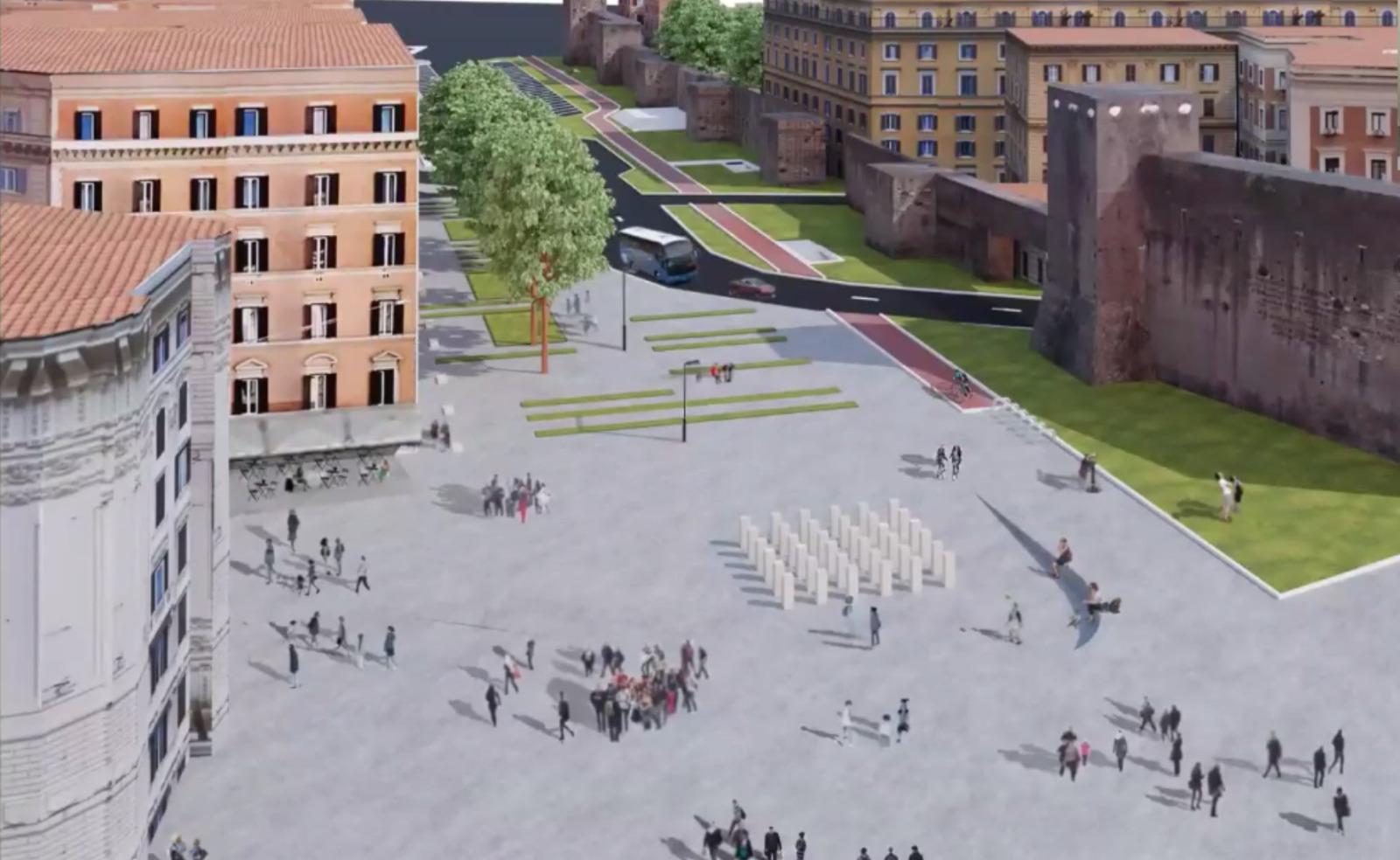 Un rendering del quadrante di piazza Alessandria in zona 30Un rendering del quadrante di piazza Alessandria in zona 30