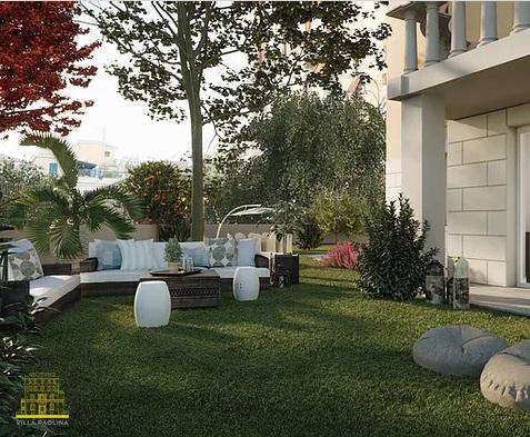 Il giardino dei nuovi appartamenti di Villa Paolina