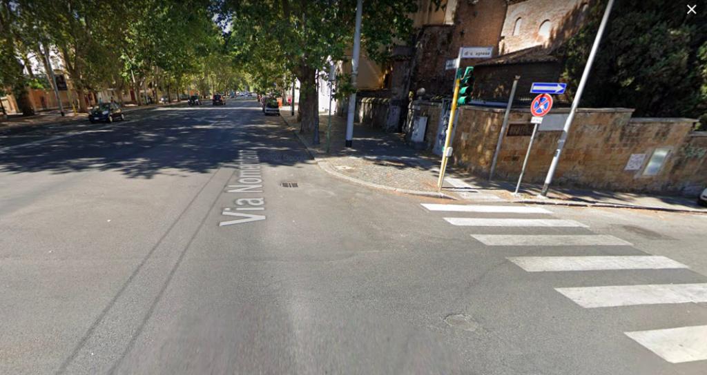L'incrocio tra via Nomentana e via di Sant'Agnese