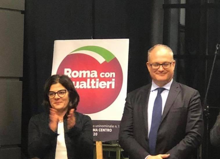 La presidente Francesca Del Bello con Roberto Gualtieri