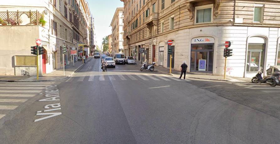 L'incrocio tra via Salaria e via Aniene