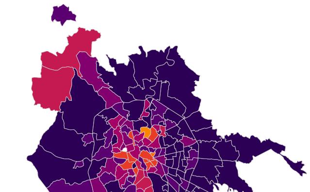 La mappa dei contagi di Roma Nord