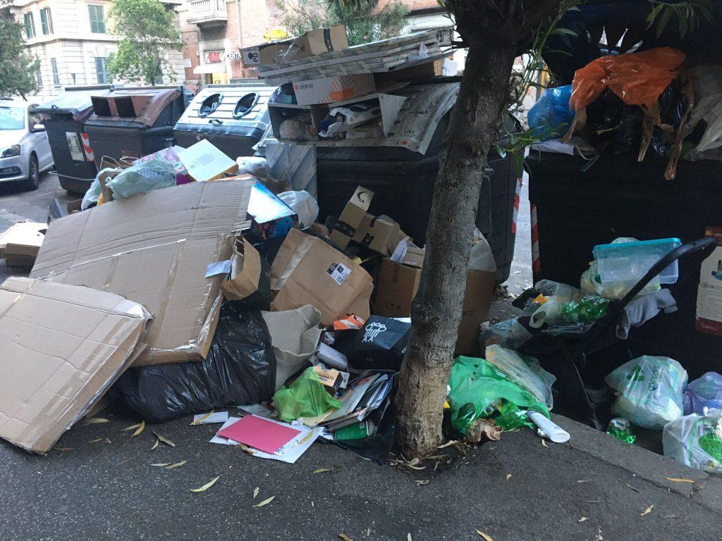 Cartone e altri rifiuti a via Sebino