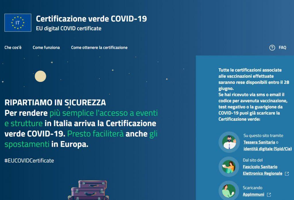 Istruzioni relative alla certificazione verde Covid 19