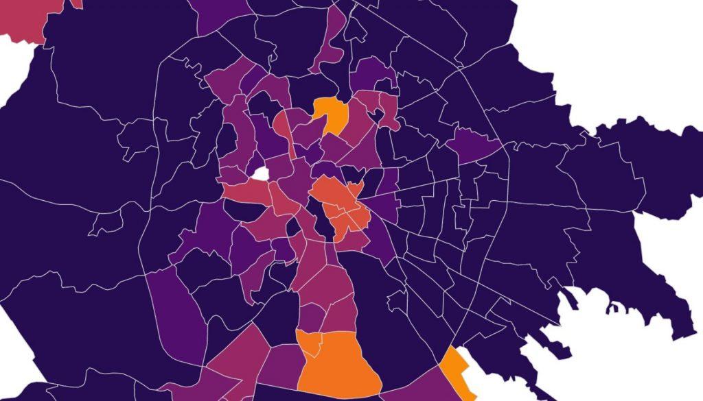 La mappa dei contagi a roma nord